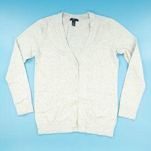 Gap Women's Cardigan Sweater V-Neck Gray Sz Medium